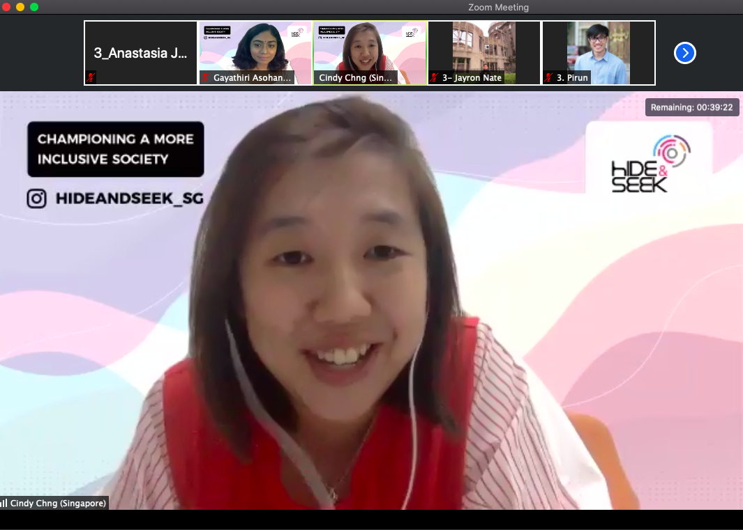 screenshoot of Cindy giving talk in zoom