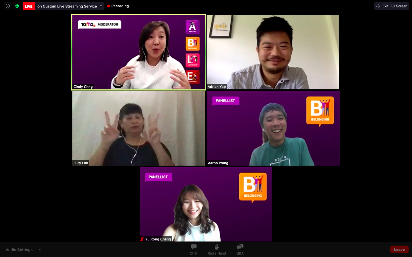 A screenshot from Belonging webinar, everyone is in high spirit when Yurong mentioned how beautiful the workplace will be if everyone could work together