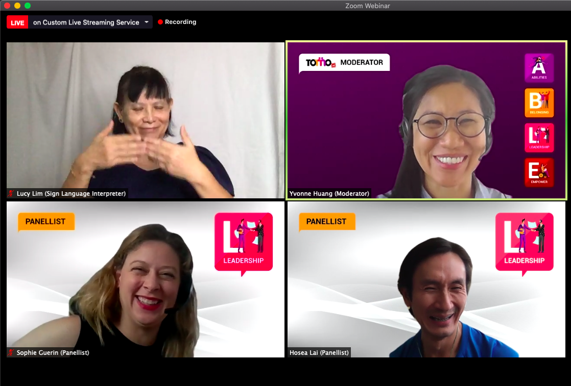 A screenshot from Leadership webinar, everyone is smiling when hearing Hosea compared Inclusivity to a delicious laksa bowl