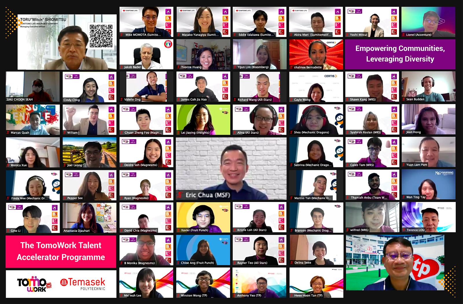 a Zoom screenshot of Mr. Eric Chua, Parliamentary Secretary, Ministry of Culture, Community and Youth & Ministry of Social and Family Development, participants and valued corporate partners at the end of Demo Day