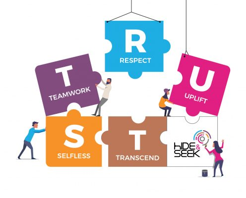 People are building the blocks with wording TRUST
